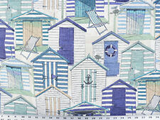 Drapery Upholstery Fabric Indoor/Outdoor Beach House Novelty Print - Blue