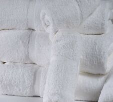 12 WHITE COTTON HOTEL BATH TOWELS LARGE 27X50 *PREMIUM* DOBBBY BORDER 14# DOZEN