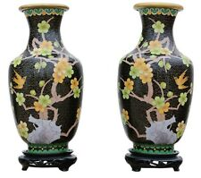 More details for antique large quality pair of handed 20th century chinese cloisonne vases