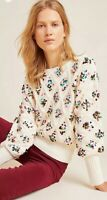 $298 LG Anthropologie Lara Sequined Festive Sweater Ivory Pullover Holiday Large