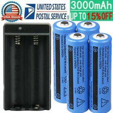 4x 18650 Battery 3.7V Li-ion Rechargeable Battery For Torch Flashlight + Charger