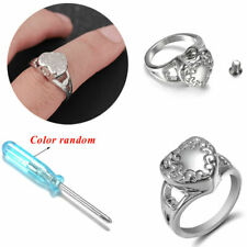 Women Heart Cremation Urn Finger Rings Pet Memorial Ashes Ring + Screwdriver