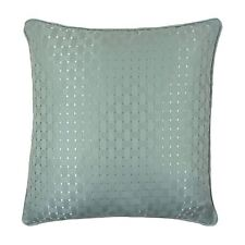 "CHESSBOARD SQUARE THICK DUCK EGG BLUE PIPED CUSHION COVER 18"" - 45CM"