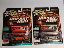 Johnny Lightning Custom 1990 Nissan 240SX Orange & Silver Import Heat Lot of 2