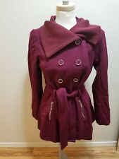 NEW Women's Guess Wool Pea Trench Coat Red Burgundy Purple Silver Size Small S