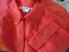 NWT WOMEN'S BALUCHI CORAL BEADED 3/4 SLEEVE TOP PANT SUIT 2 PIECE SET SIZE 12