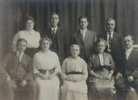 1910's Original Sepia Cabinet Photograph, Large Well Dressed Family, Suits