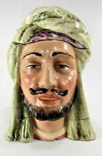 "Antique MAJOLICA Arab Man TOBACCO JAR Humidor is 6 1/4"" Tall.Early 1900's Piece"