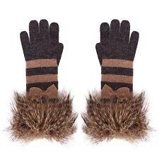 Alice Hannah Stripe Fur Pom Pom Glove
