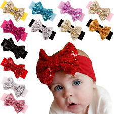 Baby Infant Girls Hair Band Sequined Bow Headband Turban Knot Hair  Headwear