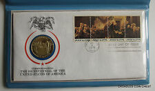 1976 AMERICAN INDEPENDENCE BICENTENNIAL FIRST DAY COVER AND SILVER MEDAL