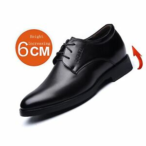 """6cm(2"""") Taller Oxfords for Men Height Increase Elevator Formal Shoes Lace Up"""
