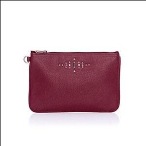 Thirty-One Rubie Mini Wallet Wristlet Deep Merlot Pebble W/ Gems NEW