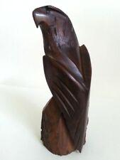 """VINTAGE NATIVE SOLID WALNUT WOOD EAGLE SCULPTURE HAND CARVED ART  9"""" HIGH"""