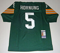 PACKERS Paul Hornung signed green jersey w/ HOF86 & 4X Champs JSA COA Autograph