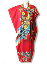 Red Floral Batik Batwing Dolman Kaftan Tunic Hippy Abaya Maxi Dress-XS, S, M & L