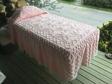"""PRETTY IN PINK WHITE TUFTING GEOMETRIC 80"""" SKIRTED CHENILLE BEDSPREAD"""