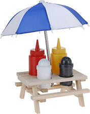 Wooden Picnic Bench with Parasol Condiment Holder Set Sauce Bottle Salt Pepper