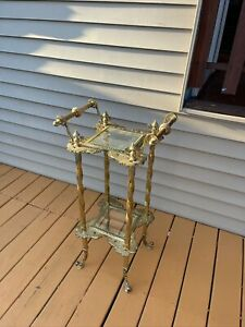 Stunning Victorian ornate French art nouveau Glass Brass Plant Stand side Table
