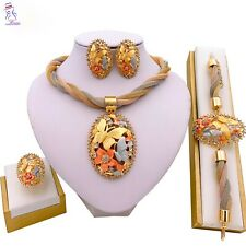 New women Dubai jewelry set Necklace Ring earring Gold Wedding Crystal Plated