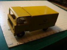vintage Wooden Toy: DEUTSCHE POST yellow Vintage Wooden Truck, GERMAN PULL TOY