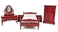 Casa de Muñecas Caoba Doble Dormitorio Conjunto de Muebles con Perno Cama Marco