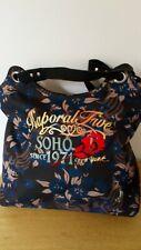 Grand sac à main fourre tout noir fleurs bleues Kaporal Five Soho since 1971