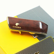 COHIBA Wine Red Metal 3 TORCH JET FLAME CIGAR CIGARETTE LIGHTER With PUNCH