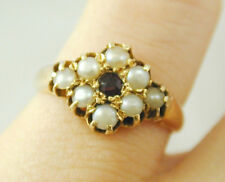 GARNET & PEARL CLUSTER RING ANTIQUE 18CT GOLD SIZE L 1/2 CIRCA 1880 3.6g une