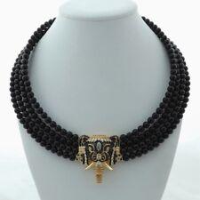 18''-21'' 4 Rows Onyx Necklace CZ Pendant