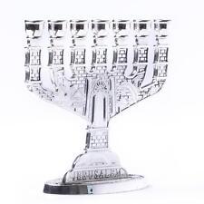 Silver Jerusalem Candle Holder Judaica Ornament 7 Branch Menorah Hanukkah Gift
