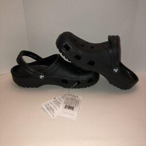 Crocs Mens Classic Slip On Round Toe Black Casual Clog Size M 8 W 10