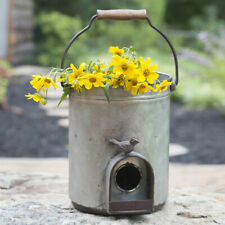 Galvanized Metal Bird Bucket Planter / Birdhouse With Wood Handle Rustic Garden