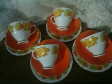 Vintage Retro Flower Power Fine Bone China Tea Set Trio x4 Royal Sutherland  VGC