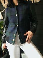 J. Crew wool tartan plaid vegan leather bomber jacket Small black green blue