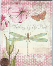 Susan Winget Dragonfly Flowers Butterfly - Small Blank Greeting Note Card - New
