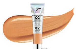 IT Cosmetics CC+ Color Correcting Full Coverage CREAM SPF 50 TAN .4oz NeW BoX