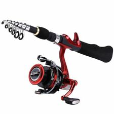 Spinning Fishing Rod With Reel BD2000 Set Olta 1.65m Red Portable Travel Carbon