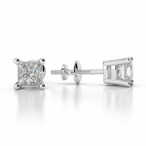1.00 Carat Princess Cut Diamond Stud Earrings in 14K White Gold Over