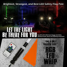 "60"" 5FT RGB Frost Tube 5050 LED Light Whip Quick Release Remote Offroad 1Pc (A)"