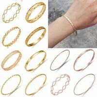 New Fashion Women's  Simple Bangle Cuff Bracelets Wristband Jewelry Gift Gold