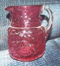 CRANBERRY GLASS PITCHER APPLIED HANDLE HAND BLOWN w PONTIL MARK