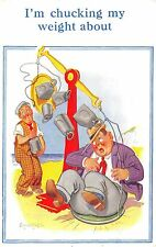 POSTCARD   COMIC   DONALD  McGILL   Fat  Man  Weighing  Machine
