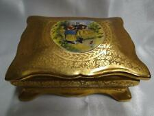 """Osborne China Hand Painted Gold Encrusted China Box with Lid 4 3/4"""" x 3 5/8"""""""