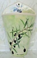 Olive Street Pottery Wall Pocket Vase Hanging Planter Green Olive Branch
