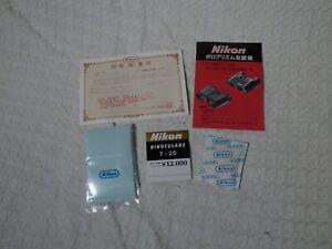 Nikon 7x20 CF Binoculars Accessories – Lens Cloth, Manual, Certificate