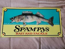 """New listing Metal One Sided Sign """"Spampys Bait and Tackle"""" Pictures a Nice Walleye"""