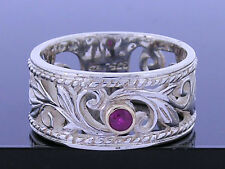 R067 Thick & WIDE 9ct Gold & 925 Silver Filigree Leaves NATURAL Ruby Ring size P