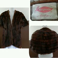VTG 50s 60s Brown MINK FUR STOLE Wrap Bridal Cape Bolero Shrug Sears Roebuck