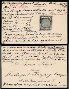 1892 STAMP COLLECTOR DR ARMIN POLGAR HUNGARY CARD + NOTE to POSTMASTER FIJI